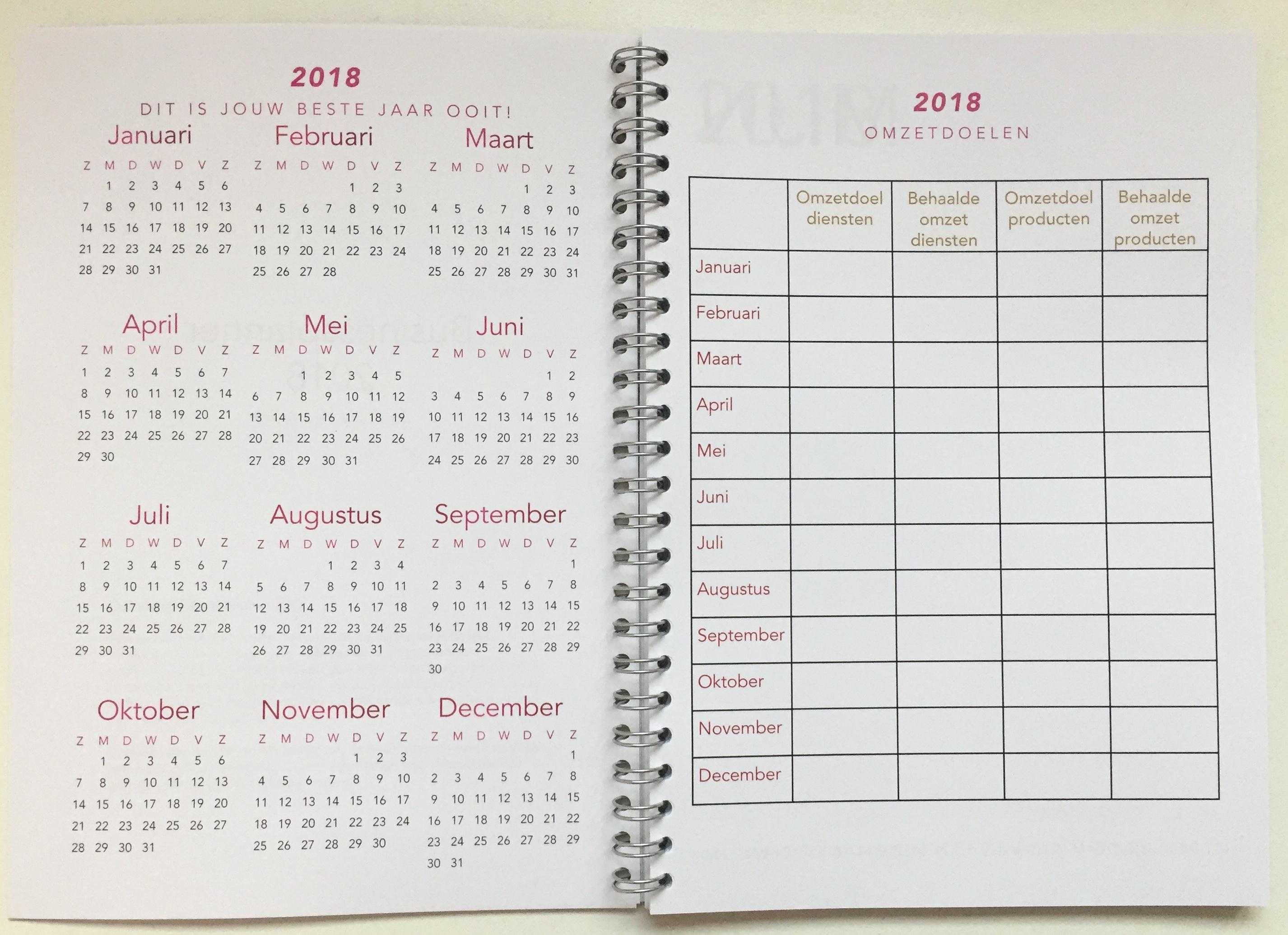 Businessplanner 2018 Jaaroverzicht En Doelen