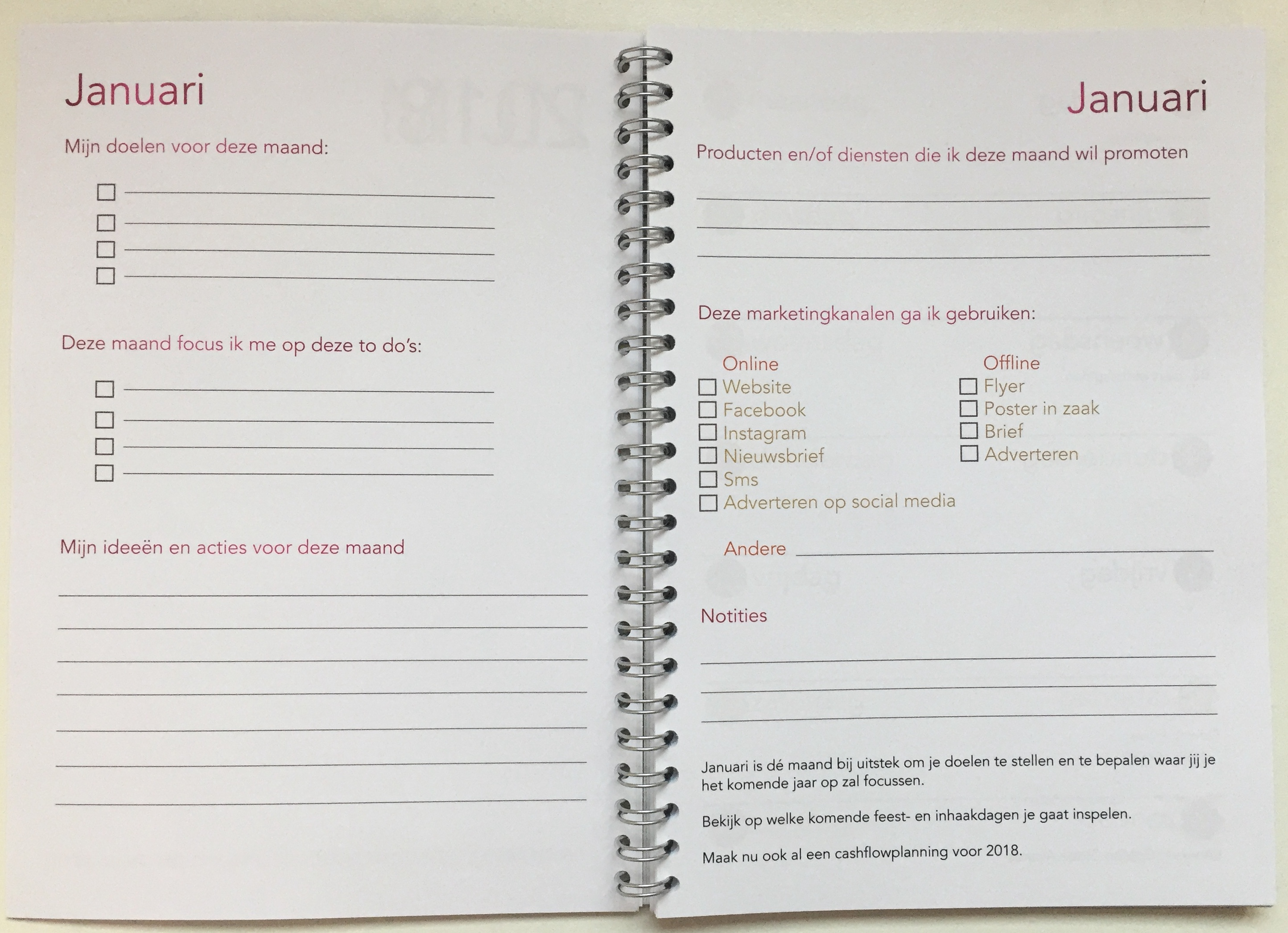 Businessplanner 2018 Maandoverzicht